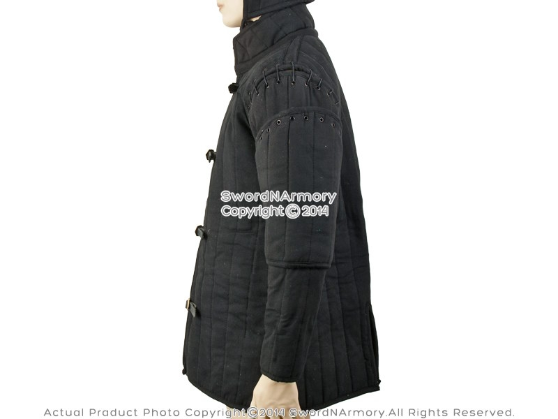 Black Gambeson Type I Medieval Padded Armour Coat SCA WMA Arming ...