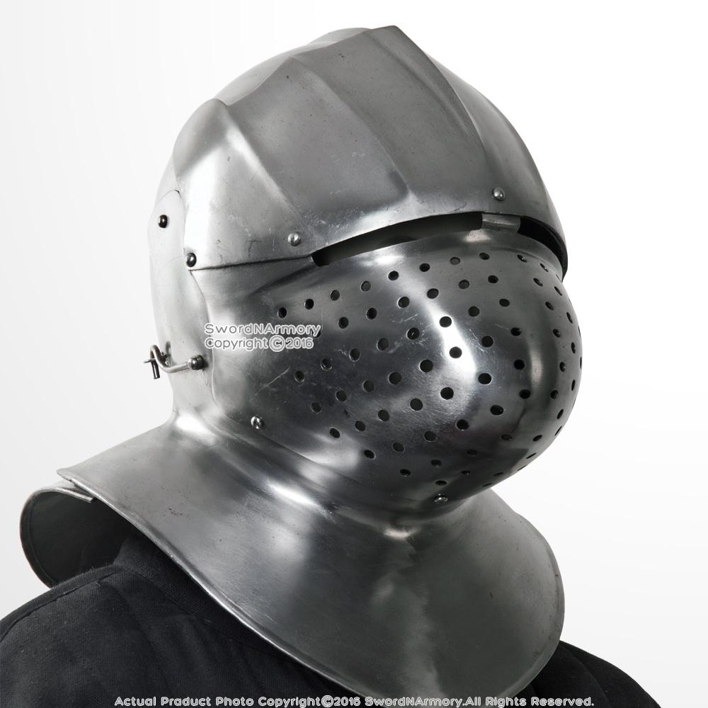 16g steel italian medieval functional sparring helmet neck