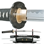 Munetoshi Wakizashi Iaito Sword 1055 Steel Unsharpened with Flying Crane Tsuba