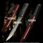 Musashi Through Hardened 1045 Carbon Steel Samurai Tanto Sword Red Full Tang