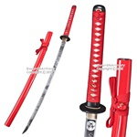 Red BIOHAZARD Z Apocalypse Katana Sword Zombie Printed Along Sharp Blade & Scab