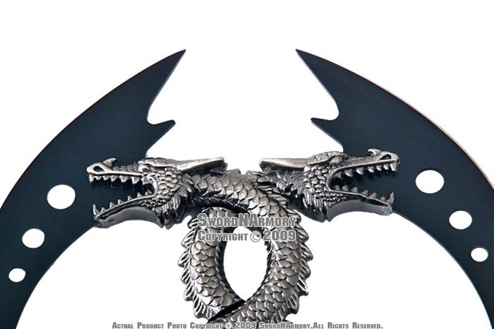 Fantasy Dual Black Dragon Dagger W Wall Mount Plaque