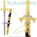 Knights Templar Crusader Ornate Golden Dagger With Scabbard