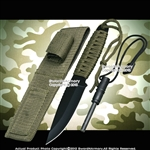 Black Camping Survival Fixed Blade Knife with Magnesium Fire Starter and Sheath