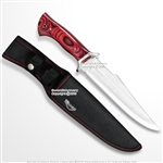 "12"" Fixed Blade Full Tang Bowie Hunting Knife Red Wood Steel Guard with Sheath"