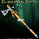 Indian Warrior Native American Tomahawk Hatchet Axe Peace Pipe Tobacco Leather