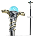 "34 "" Poly Resin Serpent Cobra Steel Shaft Walking Stick Gentleman's Cane"
