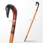 36' Handcrafted Eucalyptus Wood Walking Stick Cane Etched Bird Shape Handle