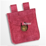 Medieval Renaissance Pouch Pink Genuine Suede Leather Coin Bag LARP Cosplay
