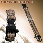 "7.5 "" Green Camo Parachute Cord Survival Bracelet Strip with Emergency Whistle"