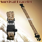"8.5"" Desert Parachute Cord Survival Bracelet Strip w/ Whistle 300 Lbs Capacity"
