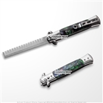 Novelty Automatic Push Button Folding Comb Switchblade Knife Looking Hair Brush