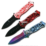 Spring Assisted Opening Spider Knife Serrated Tactical Folder Surgical Steel
