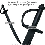 Wooden Pirates of Caribbean Cutlass Sword  Prop Black