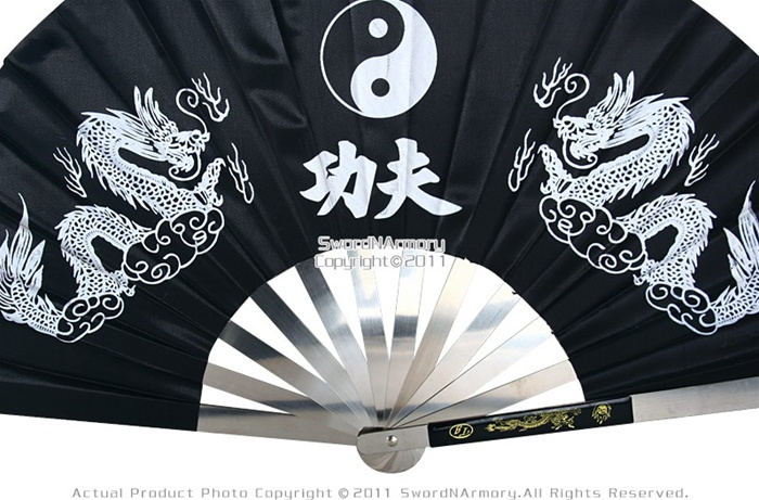 Martial Art Tai Chi Kung Fu Fighting Fan Steel Black