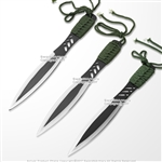 "7.75"" Long 3 Pcs Throwing Knife Set Throwers with Sheath Cord Wrapped Handle"
