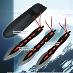 "7 1/2"" 3 Pcs Throwing Knife Set Ninja Throwers with Red Strap and Nylon Sheath"