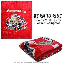 79X94 CSA Rebel Born to Ride Korean Mink Queen Blanket