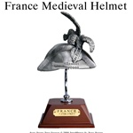 France Helmet Pewter W/ Wooden Stand & Plaque