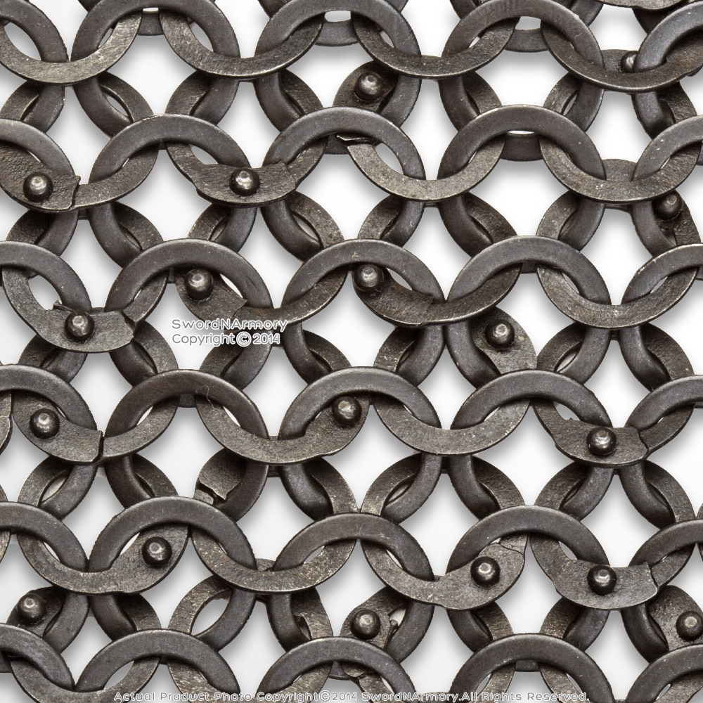 Details about  /9mm 18 gauge flat ring all ring dome riveted stainless steel chainmail sleeves