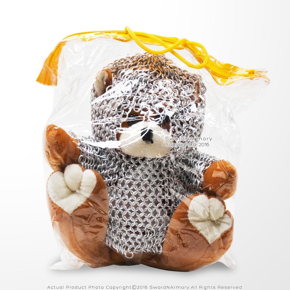 Cute Teddy Bear Knight Medieval Chainmail Armor Stuffed Plush Toy Fair Souvenir
