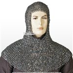 Stainless Steel Large Size Medieval Chainmail Coif Flat Ring Round Riveted LARP