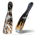 "8.5"" Genuine Cow Horn Polished Shoe Horn Hand Made Burnt Pattern Shoe Accessory"