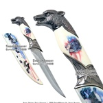 American Flag Fantasy Wolf Knife