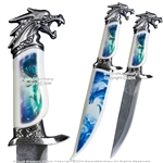 "13.5"" Fantasy Fierce Dragon Dagger Bowie Gift Knife with Scabbard Souvenir"