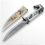 "13.5"" Fantasy White Stallion Horse Dagger Bowie Gift Knife with Sheath Souvenir"