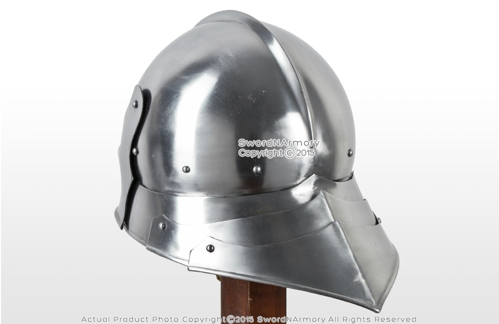 Functional Medieval German Sallet Fighting Combat Helmet Articulate Tail  16G SCA