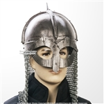 Gjermundbu 16G Steel Functional Viking Helmet with Chainmail Coif  Leather Liner