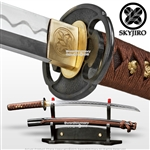 Skyjiro Ancient Iron Warrior Handmade Wakizashi Sword 1070 Forge Folded Steel