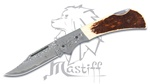 Mastiff Imported Japanese Damascus Steel Folding Knife Stag Horn Handle HRC 58