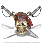 Caribbean Sea Pirate Skeleton Skull Wall Display w/ Hanging Dual Cutlass Swords