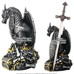 Poly Resin Emperor Treasure Dragon With Sword & Shield