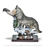 "13"" Polyresin Howling Wolf Gift Statue Decor  with Engraved Dagger Short Blade"