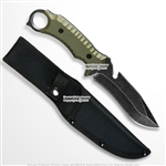 "10"" Full Tang Fixed Blade Knife Stone Wash Finish Blade G10 Handle w/ Pouch"