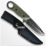 "8.75"" Full Tang Fixed Blade Knife Stone Wash Finish Blade G10 Handle w/ Pouch"