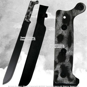 Full Tang Fixed Blade Jungle Machete Zombie Hunting Sword Saw Tooth Edge BKPF