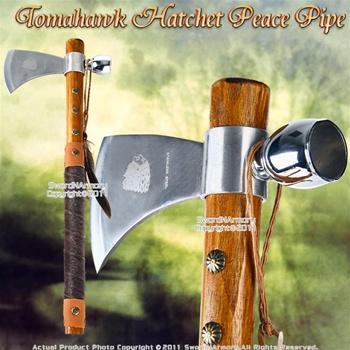 Native American Tomahawk Peace Pipe for Tobacco Chief Steel Blade Bowl