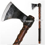 "26"" Steel Viking Warrior Battle Axe Hatchet with Leather Wrapped Handle SCA LARP"
