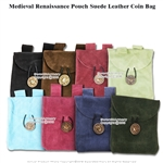 Medieval Renaissance Fair Costume Suede Leather Pouch Satchel Bag LARP SCA