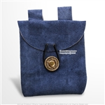 Blue MedievalGenuine Suede Leather Belt Pouch Satchel Bag Renaissance Costume