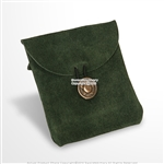 Medieval Green Genuine Suede Leather Belt Pouch Satchel Bag Renaissance Costume