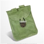 Medieval Light Green Renaissance Fair Costume Suede Leather Pouch Satchel Bag LARP SCA