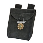 Black Medieval Renaissance Fair Costume Suede Leather Pouch Satchel Bag LARP SCA