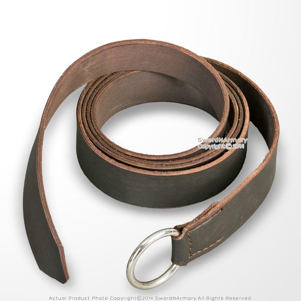 Mythrojan Leather Ring Belt with Steel Ring Viking LARP Leather Belt