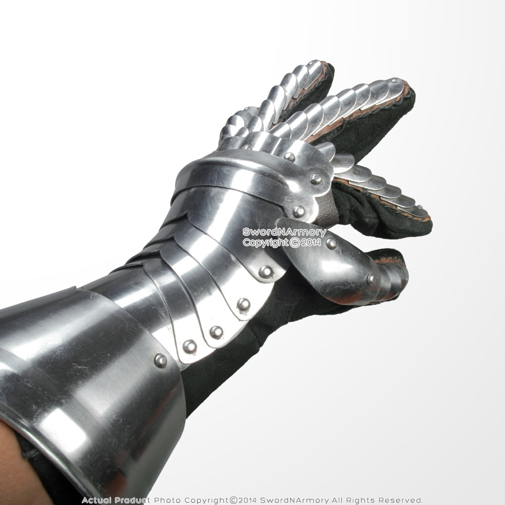 Medieval Polish 18G Plate Steel Gothic Gauntlets with Leather Glove LARP  Armour
