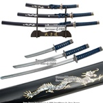 4 Pcs Dragon Slayer Samurai Katana Sword Set Blue